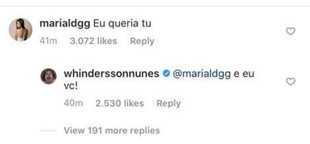 "comentario de whindersson - Whindersson Nunes flerta com suposto affair na web: ""Queria tu"""