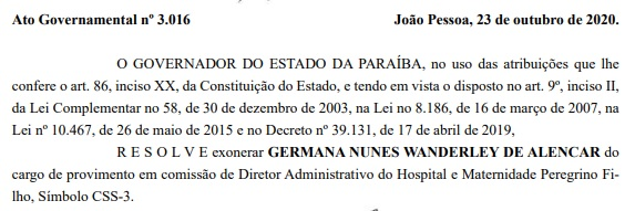 esposa dr erico - DIÁRIO OFICIAL: Mulher de Dr. Érico é exonerada do Estado - LEIA DOCUMENTO