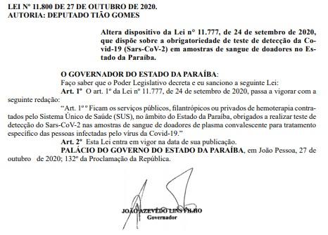 lei testes exames covid - DIÁRIO OFICIAL: Lei que prevê testagem obrigatória em doadores de sangue na Paraíba é alterada