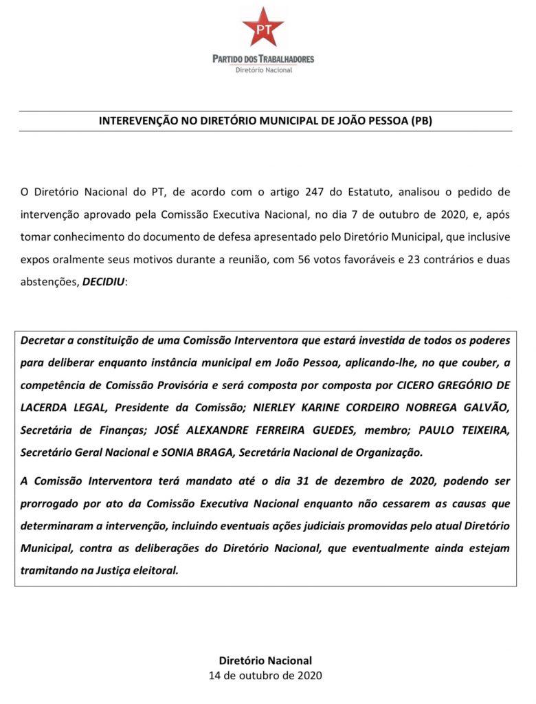 nota pt - Interventor do PT de João Pessoa pede exoneração do Governo do Estado e diz que única saída para o campo progressista é apoiar Ricardo
