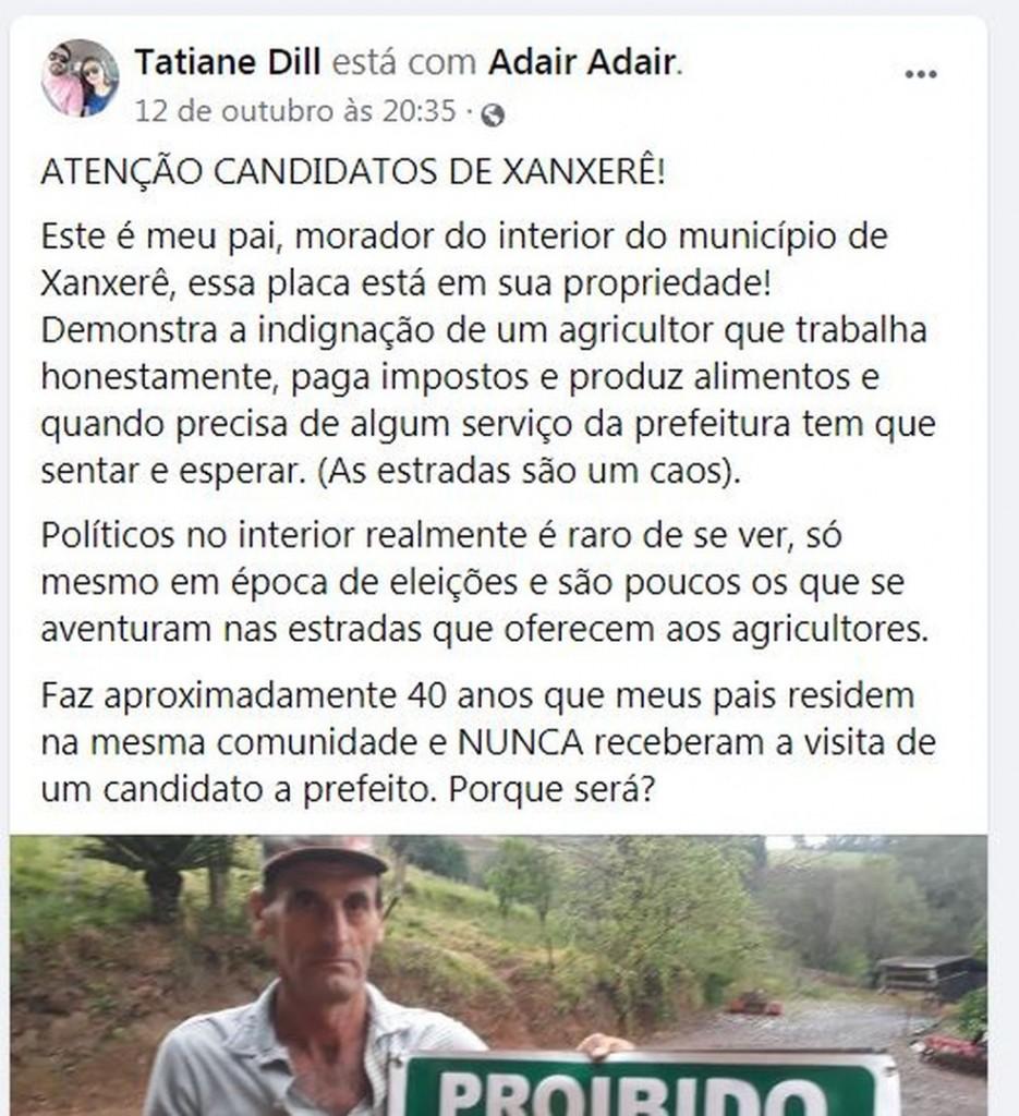 post redes sociais - Agricultor instala placa em protesto para proibir entrada de políticos em propriedade