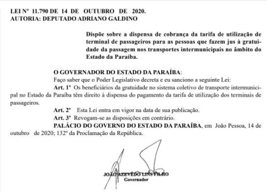 whatsapp image 2020 10 15 at 080924 - Cobrança de tarifa nas rodoviárias para beneficiários de gratuidade de passagem nos transportes intermunicipais é dispensada, na Paraíba