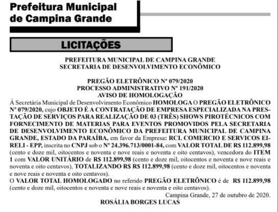 whatsapp image 2020 10 28 at 092220 1 - MESMO NA PANDEMIA: Romero Rodrigues contrata três shows pirotécnicos por mais de R$ 112 mil em Campina Grande