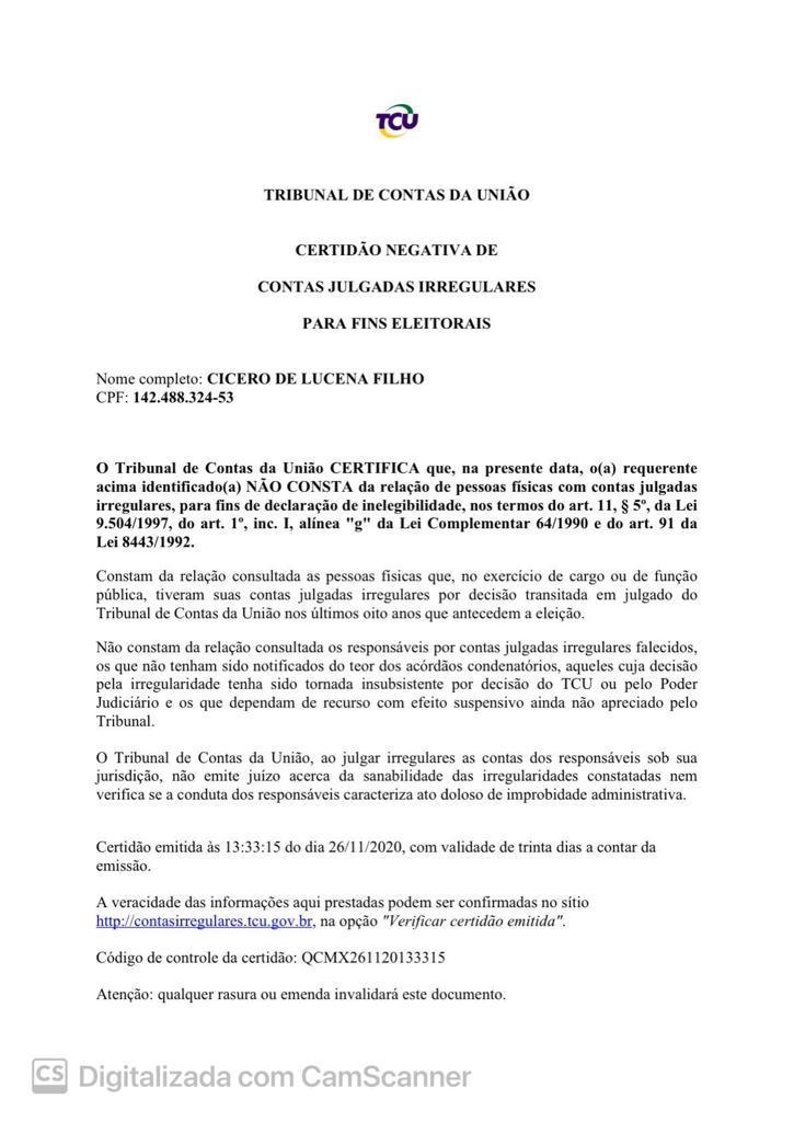 1 5 - '100% ELEGÍVEL': Certidões do TRE e TCU provam elegibilidade de Cicero Lucena; veja documentos