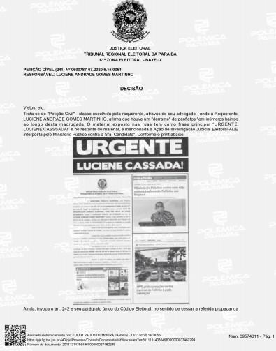 DECISÃO 1 - 'APURAÇÃO SEVERA': Justiça Eleitoral determina que PF investigue panfletos apócrifos em Bayeux; LEIA DECISÃO
