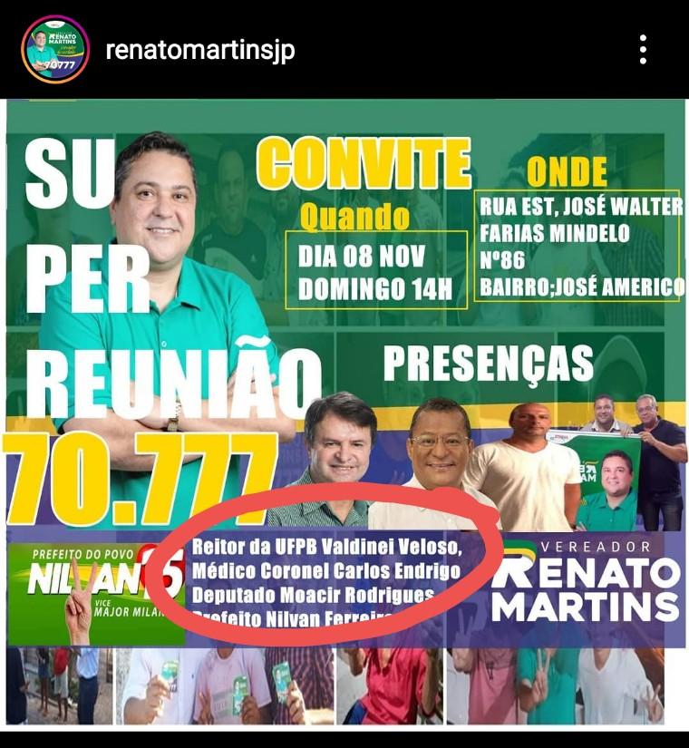 NILVAN 2 - Reitor da UFPB nomeado por Bolsonaro participa de ato de campanha em apoio a Nilvan Ferreira