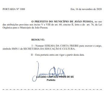 PORTARIA EDILMA - Sem êxito na eleição, Edilma Freire é nomeada secretária de educação da PMJP; CONFIRA PORTARIA