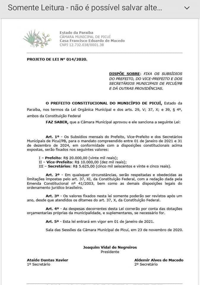 WhatsApp Image 2020 11 25 at 12.33.06 1 - Após as eleições, prefeito Picuí publica reajuste salarial para ele, vice, vereadores e secretários; confira