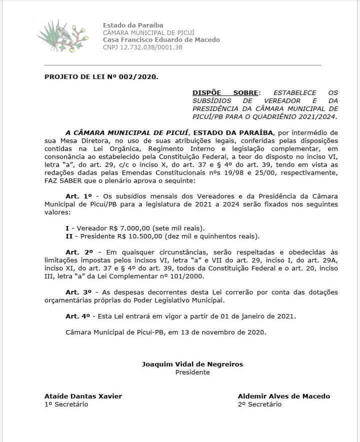 WhatsApp Image 2020 11 25 at 12.33.06 - Após as eleições, prefeito Picuí publica reajuste salarial para ele, vice, vereadores e secretários; confira