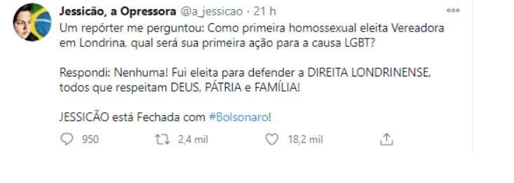 imagem 2020 11 18 210817 - Vereadora lésbica diz que não vai fazer nada pela população LGBQIAP+ por estar 'fechada com Bolsonaro'