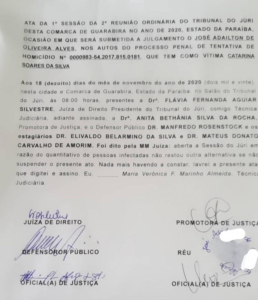 juri1 - Júri é suspenso por grande número de infectados com Covid-19 na Paraíba
