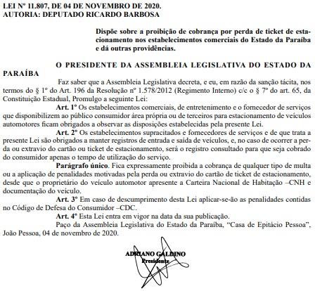 lei estacionamento  - JÁ ESTÁ VALENDO: Lei que proíbe multa por perda de ticket de estacionamento na Paraíba é publicada – LEIA DOCUMENTO