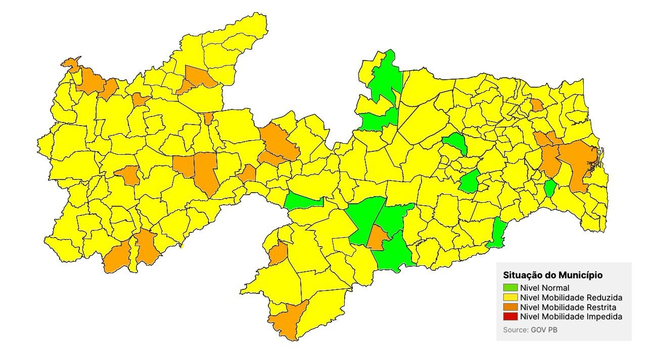 mapa 13 avaliacao - PLANO NOVO NORMAL: Avaliação aponta aumento na taxa de transmissão da Covid-19 na Paraíba e coloca 96% dos municípios em bandeira amarela ou laranja