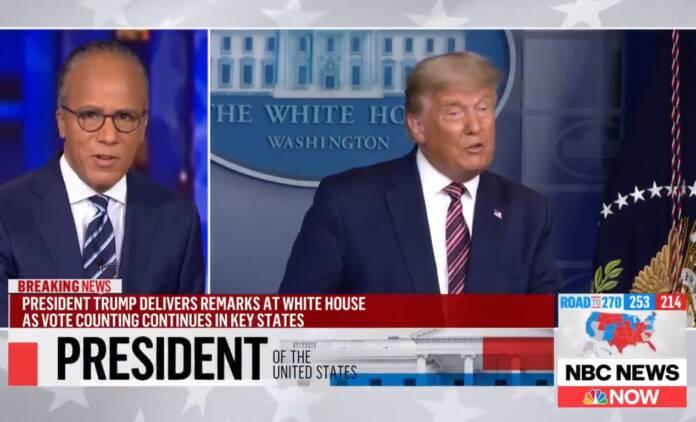 """nbc desmente trump 696x422 1 - Emissoras interrompem transmissão de discurso de Trump sobre """"fraude eleitoral"""""""