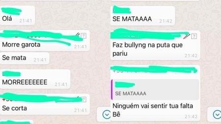 prints das conversas mostram o bullying 1604585184149 v2 450x450 - Menina que sofria bullying dos colegas recebe mensagens para se matar