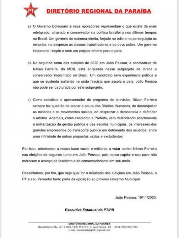 pt pb resolução - PT/PB aprova resolução recomendando que filiados não votem em Nilvan no segundo turno
