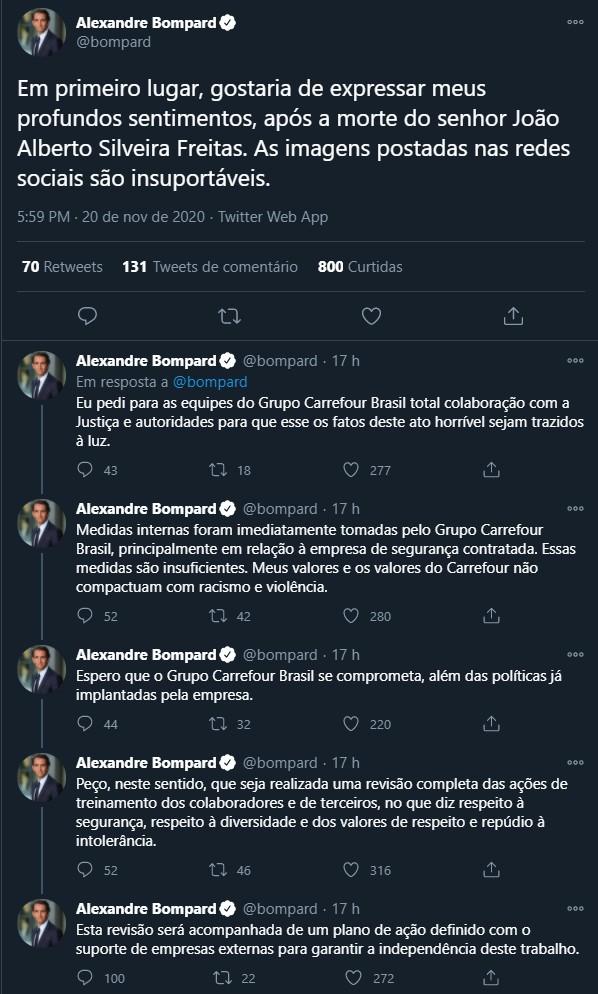 screencapture twitter bompard status 1329892173278490627 2020 11 21 11 42 36 - Presidente global do Carrefour pede revisão do treinamento de funcionários