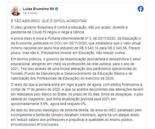 """6652 - Bolsonaro trava reajuste de professores em 2021 e Erundina reage: """"desmantela o setor educacional""""; confira"""
