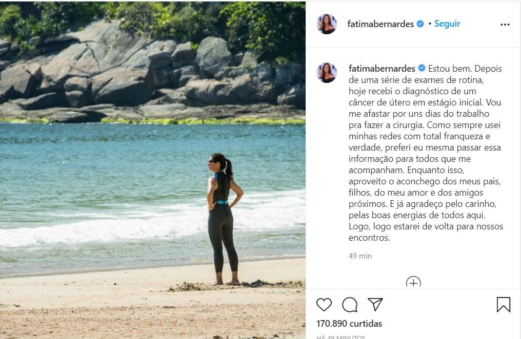 imagem 2020 12 02 200837 - Fátima Bernardes é diagnosticada com câncer de útero e será afastada do seu programa