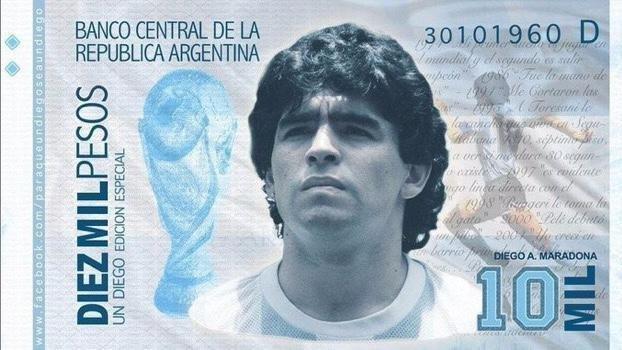 nota maradona - Campanha para criar nota de 10 mil pesos com rosto de Maradona é criada por argentinos