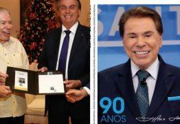 Silvio Santos ganha homenagem em selo e encontra Bolsonaro sem máscara; presidente é criticado