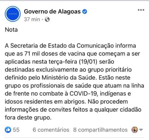 """Nota do Governo do Alagoas Carlinhos Maia Vacina - """"NÃO PROCEDE"""": Governo de Alagoas nega ter convidado Carlinhos Maia para vacinação; LEIA A NOTA"""