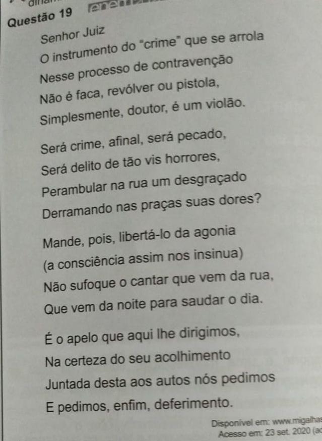 WhatsApp Image 2021 01 18 at 07.02.34 e1610967769866 - ENEM: texto inusitado do ex-governador Ronaldo Cunha Lima é citado em questão da prova - VEJA
