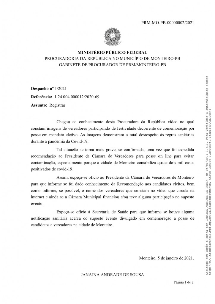 despacho n 1 2021   pp 12 2020 page 0001 - MPF recebe denúncia de festas de posse em Monteiro e pede que Câmara informe quais os vereadores que participaram do evento - VEJA VÍDEO