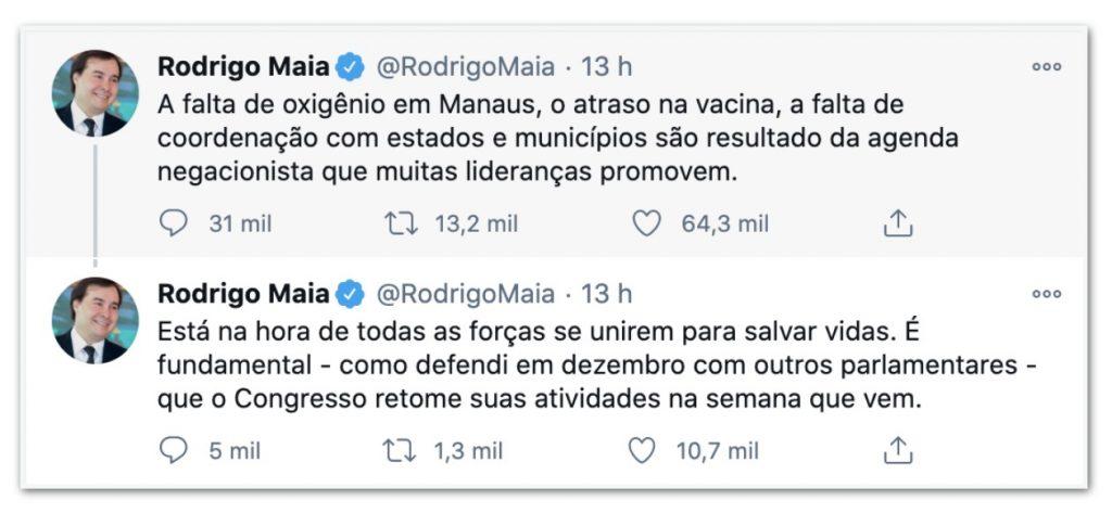 maia tweet 1024x473 - Nas redes sociais, Maia é pressionado a pautar impeachment de Bolsonaro