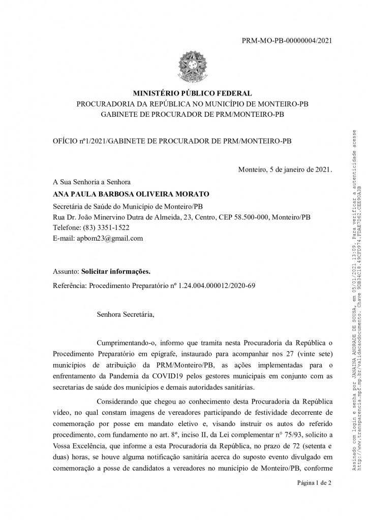 oficio no 2 2021 gab jas prm monteiro pb page 0001 - MPF recebe denúncia de festas de posse em Monteiro e pede que Câmara informe quais os vereadores que participaram do evento - VEJA VÍDEO