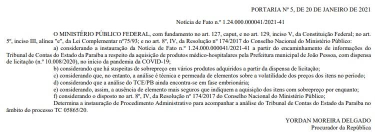 portaria mpf - MPF apura suspeita de superfaturamento de produtos hospitalares pela PMJP no início da pandemia
