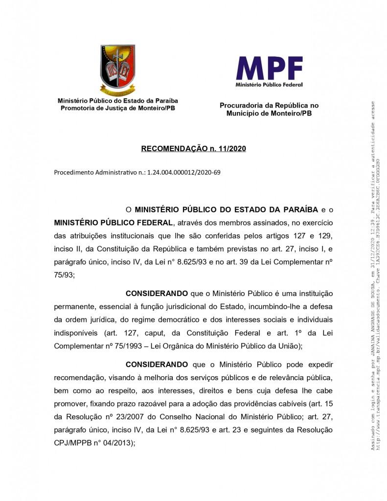 recomendacao 11 2020 page 0001 - MPF recebe denúncia de festas de posse em Monteiro e pede que Câmara informe quais os vereadores que participaram do evento - VEJA VÍDEO