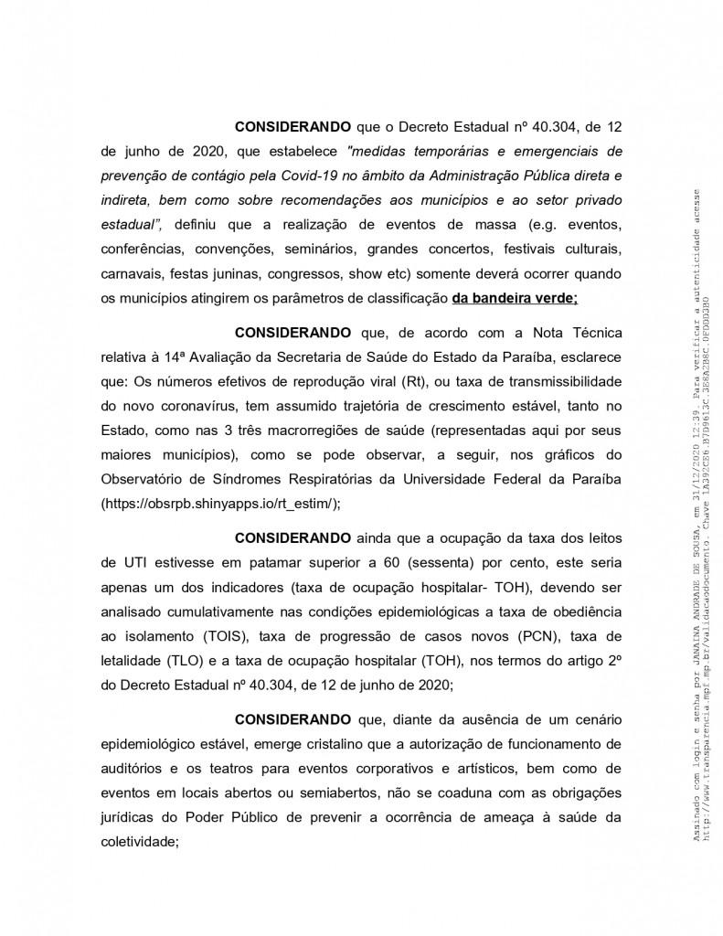 recomendacao 11 2020 page 0004 - MPF recebe denúncia de festas de posse em Monteiro e pede que Câmara informe quais os vereadores que participaram do evento - VEJA VÍDEO