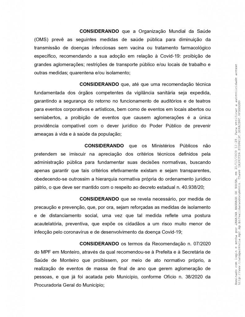 recomendacao 11 2020 page 0005 - MPF recebe denúncia de festas de posse em Monteiro e pede que Câmara informe quais os vereadores que participaram do evento - VEJA VÍDEO