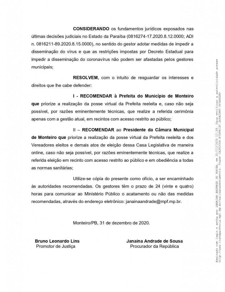 recomendacao 11 2020 page 0006 - MPF recebe denúncia de festas de posse em Monteiro e pede que Câmara informe quais os vereadores que participaram do evento - VEJA VÍDEO