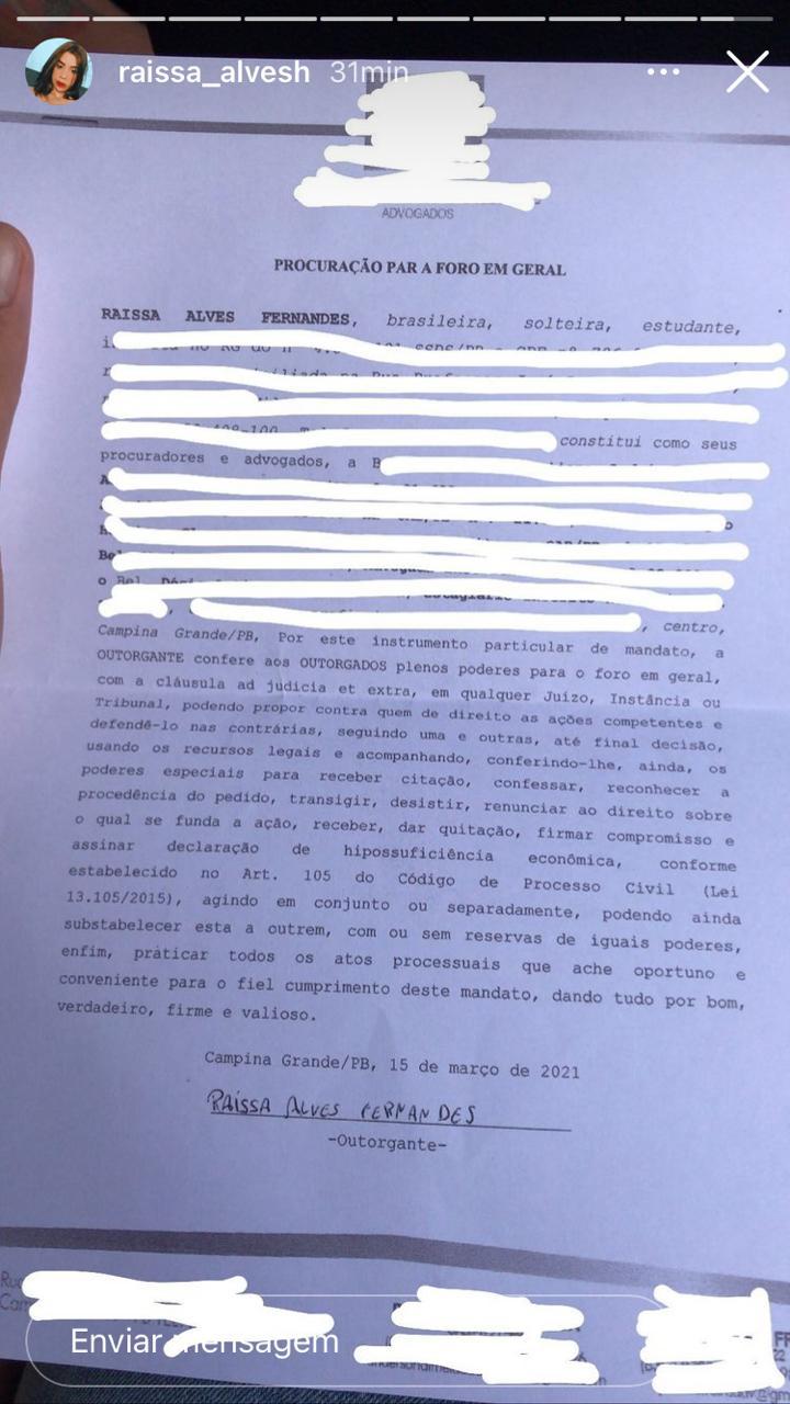 WhatsApp Image 2021 03 15 at 18.38.57 - Caso Raissa Alves: blogueira campinense comprova que fez denuncia contra irmão mais velho por abuso sexual - VEJA BOLETIM