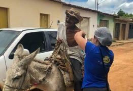 Idoso vai se vacinar contra a Covid-19 em cima de jumento no Sertão da Paraíba