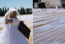 Noiva bate recorde com véu de 6.962,6 metros de comprimento – VEJA VÍDEO