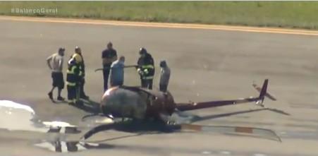 ACIDENTE - TRAGÉDIA: duas pessoas ficam feridas após queda de helicóptero, nesta segunda-feira - VEJA VÍDEO