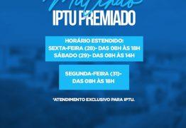 Mutirão para emissão do boleto do IPTU Premiado de Patos acontece nesta segunda-feira, 31