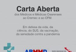 """Médicos emitem 'Carta Aberta"""" em discordância a nota publicada pelo Cremec e CFM a respeito da CPI da Pandemia – CONFIRA"""
