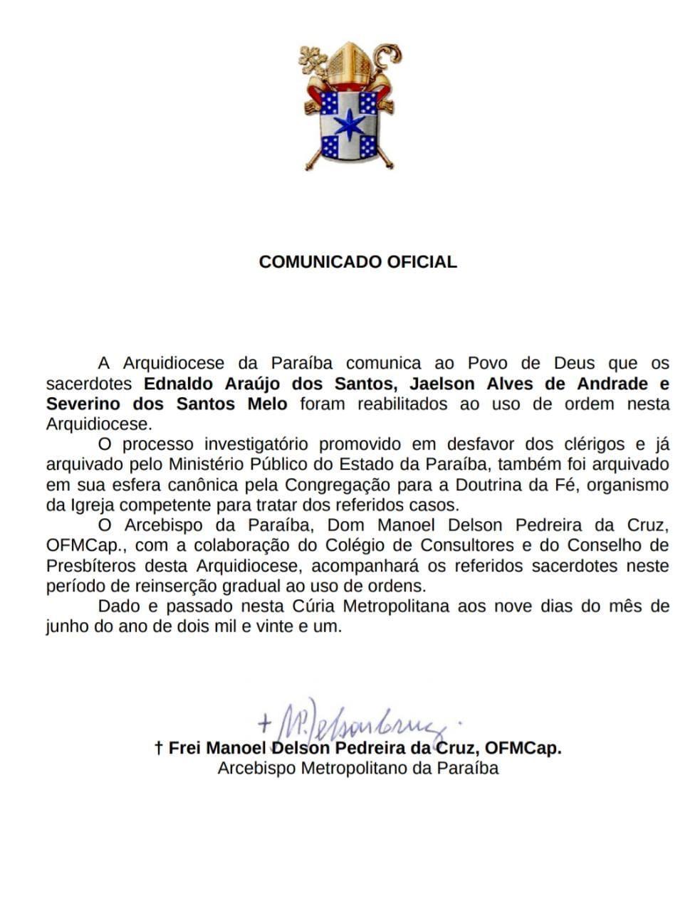 WhatsApp Image 2021 06 12 at 17.26.12 - 'PROCESSOS ARQUIVADOS': Arquidiocese da Paraíba anuncia reabilitação de três padres que eram investigados por exploração sexual