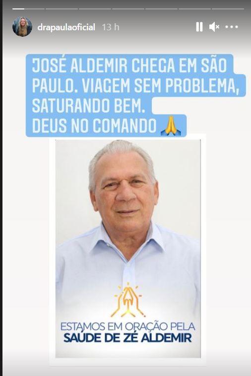 """WhatsApp Image 2021 06 18 at 10.55.19 - Doutora Paula detalha chegada de Zé Aldemir a SP e aponta estabilidade: """"viagem sem problemas, saturando bem"""""""