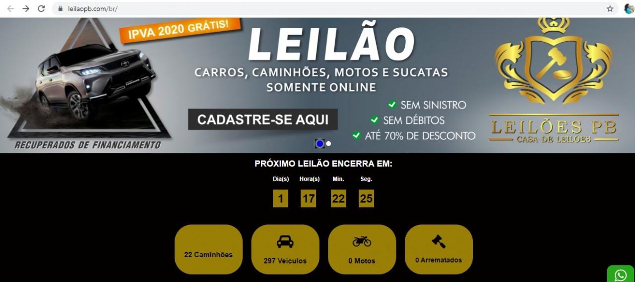 site golpe - GOLPE! Criminosos usam nome do Leilões PB para oferecer automóveis e roubar dinheiro de vítimas