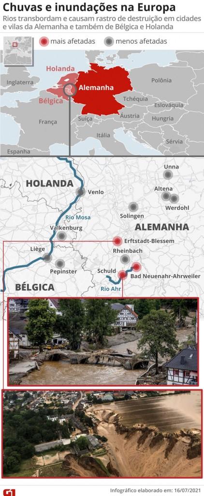 1607 mapachuvav2 - TRAGÉDIA NA EUROPA: Sobe para 126 o número de mortos após fortes chuvas; Alemanha é o país mais afetado em 59 anos