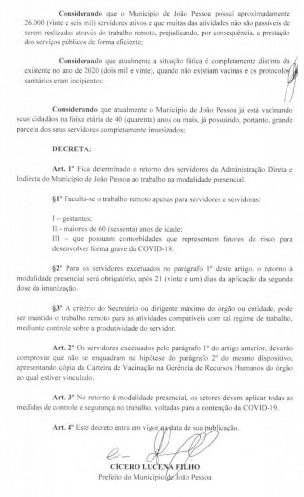 5C312115 2C0D 46F6 BCB6 9D45F3E6C210 - Em decreto, Cícero Lucena determina volta do trabalho presencial de servidores de João Pessoa - VEJA DOCUMENTO