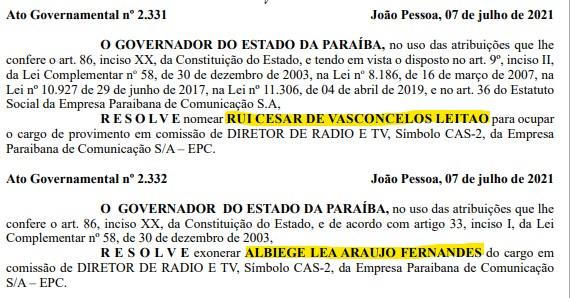 Captura de tela 2021 07 08 070721 - Exoneração de Albiege Fernandes é publicada no Diário Oficial, Rui Leitão assume a direção de rádio e TV da EPC