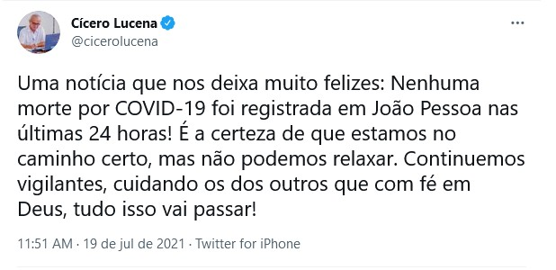"""Captura de tela 2021 07 19 125134 - João Pessoa não registra mortes por covid-19 em 24 horas e prefeito comemora: """"Continuemos vigilantes"""""""