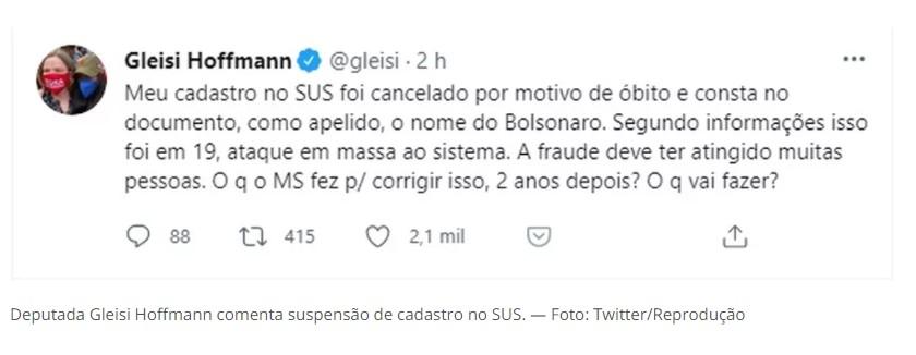 Capturar 53 - Gleisi Hoffmann aparece como 'morta' em cadastro do SUS e com apelido de 'Bolsonaro'