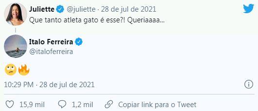 Capturarll - Ítalo Ferreira flerta com Juliette na Web e esclarece: 'Não namoro'